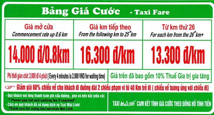 Các tính tiền taxi mai linh